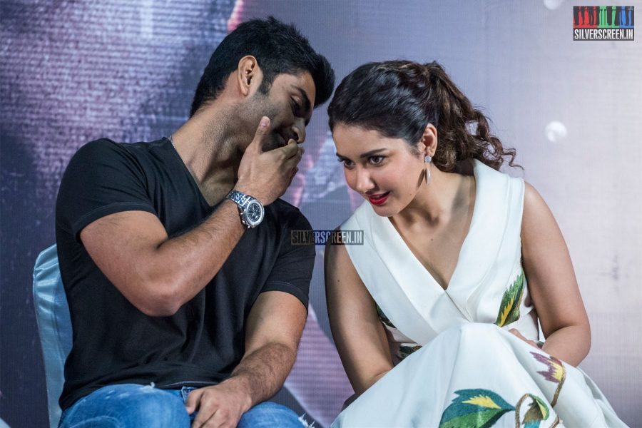 Atharvaa, Raashi Khanna At The Imaikkaa Nodigal Press Meet