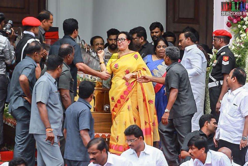 Film Personalities Pay Their Last Respects To M Karunanidhi At Rajaji Hall