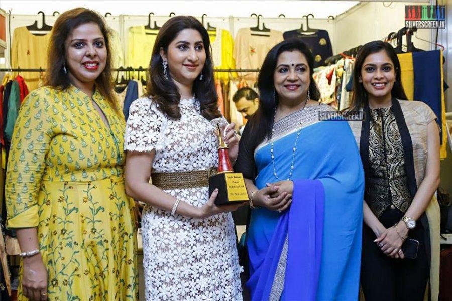 Poornima Bhagyaraj, VJ Kiki Vijay At The Launch Of A Wedding Fashion Exhibition In Chennai