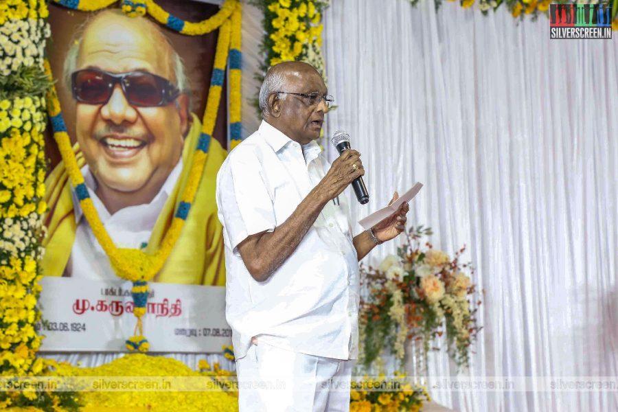 SP Muthuraman At The Prayer Meet For M Karunanidhi