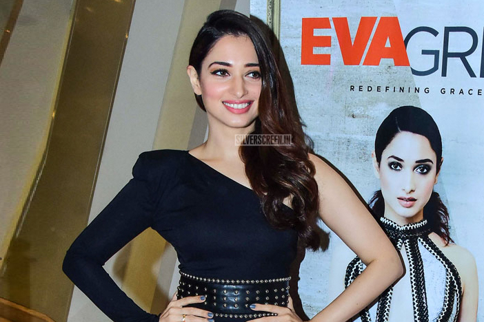 Tamannaah In A Black Nadine Merabi Gown At A Product Launch In Mumbai