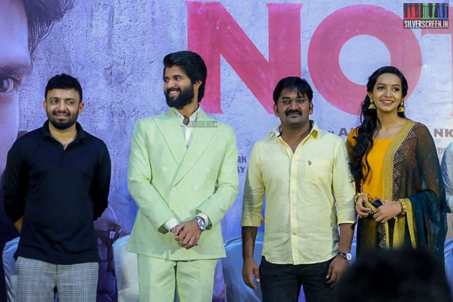 Sanchana Natrajan, Vijay Devarakonda, Karunakaran At The NOTA Press Meet