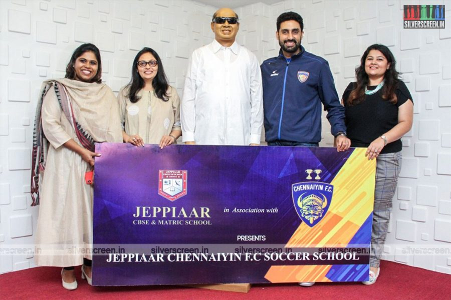 Abhishek Bachchan At The Launch Of 'Chennaiyin FC Soccer School'