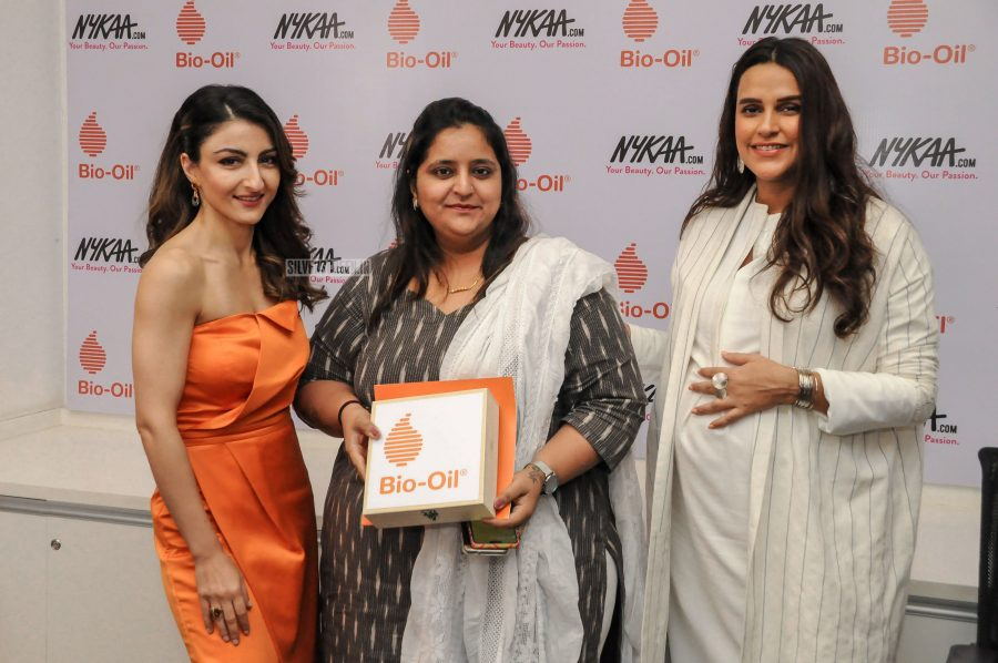 Soha Ali Khan & Neha Dhupia At A Product Launch