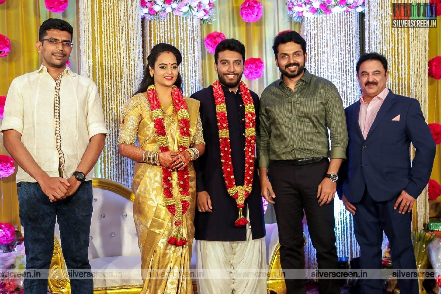 Karthi At The Suja Varunee & Shivakumar Wedding Reception