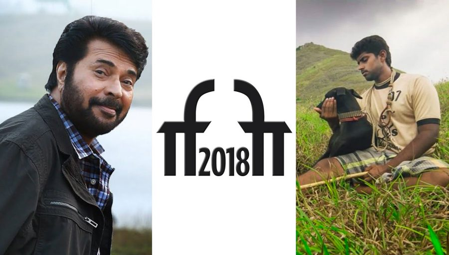 Collage featuring Mamootty from Peranbu, IFFI Logo, and Kathir from Pariyerum Perumal