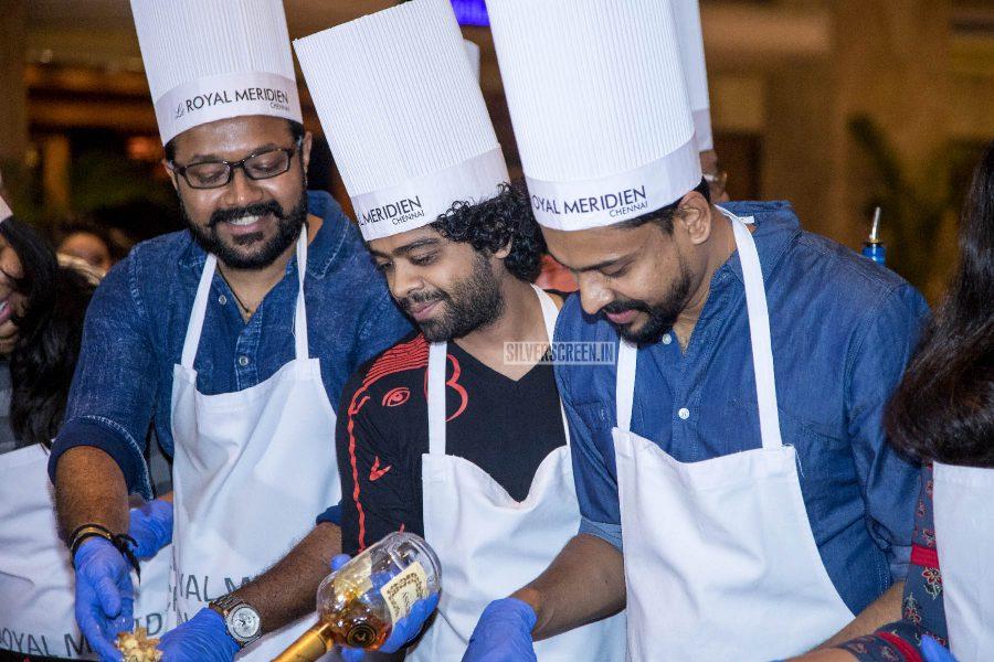 Rahul Nambiar, Naresh Iyer, Aalap Raju At The Cake Mixing Event