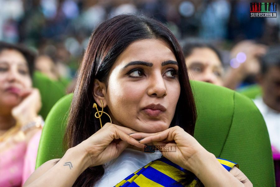 Samantha, whose marriage to Naga Chaitanya was one of the much talked about celebrity wedding events of 2017, sums up our reaction to the industry's silence to the MeToo movement. Hint: Best done with those lovely statement earrings from Misho Designs. At the 100th day celebrations of Irumbuthirai. <strong>Pic: Dani Charles</strong>
