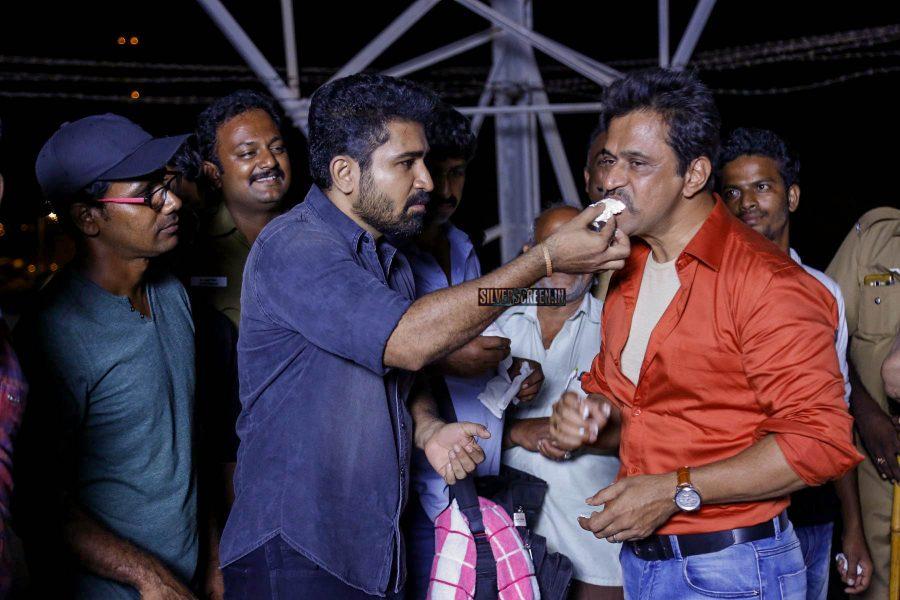 Arjun, Vijay Antony At The Kolaigaran Wrap Up Meet