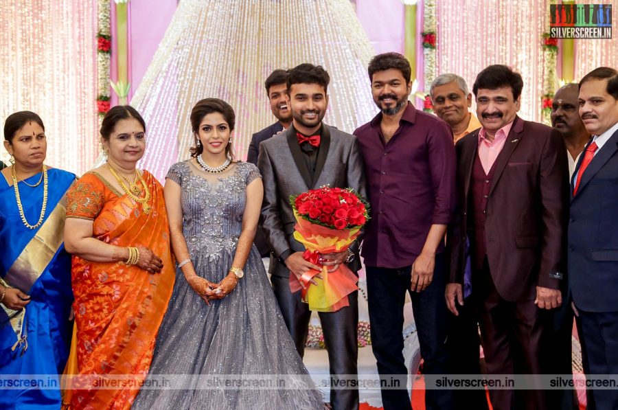 Vijay At The RS Jashwanth Kannan-K Priyanka Wedding Reception