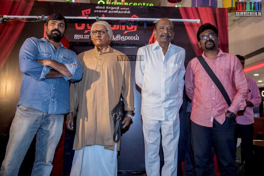 J Mahendran, Balaji Tharaneetharan Unveil Seethakaathi Wax Statue