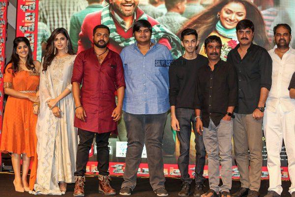 Anirudh Ravichander, Karthik Subbaraj, Malavika Mohanan, Megha Akash At The 'Petta' Audio Launch