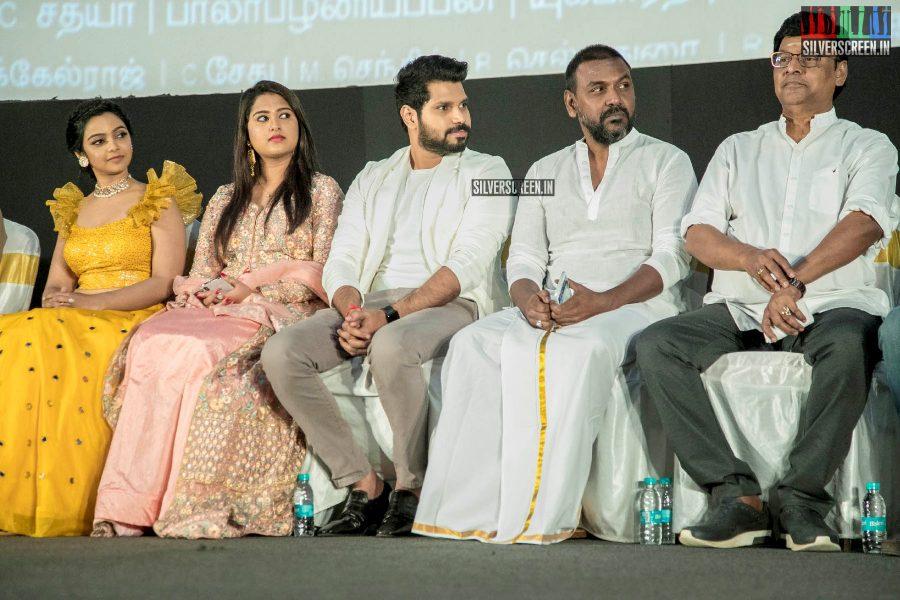 Kishore Ravichandran, Chirashree Anchan, Nithya Shetty, K Bhagyaraj, Raghava Lawrence At The 'Aghavan' Audio Launch