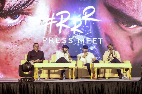 Junior NTR, Ram Charan, SS Rajamouli At The 'RRR' Press Meet