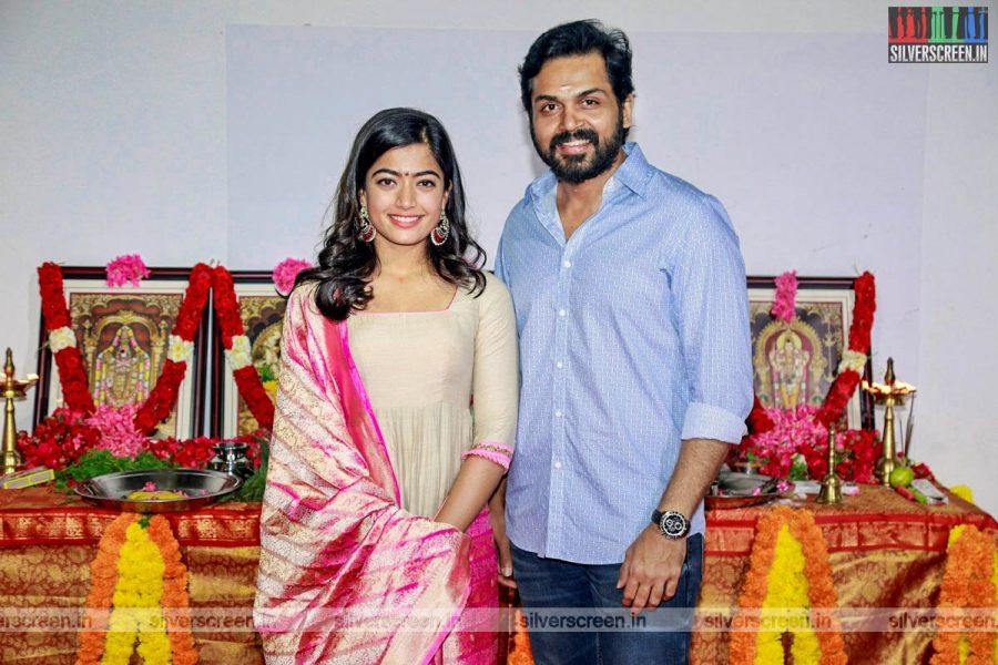 Karthi, Rashmika Mandana Untitled Movie Launch Photos