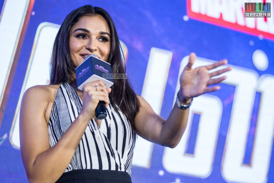 Andrea Jeremiah At The 'Marvel Anthem' Launch