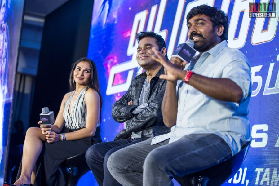 AR Rahman, Vijay Sethupathi, Andrea Jeremiah At The 'Marvel Anthem' Launch