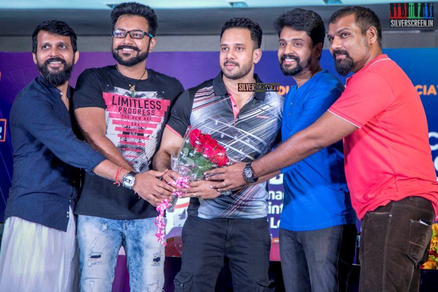 Bharath At The Launch Of Tamilnadu Badminton Super League 2019