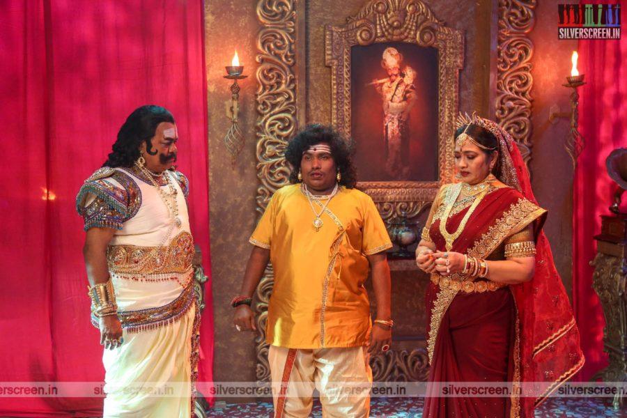 Dharmaprabhu Movie Stills Starring Yogi Babu, Rekha