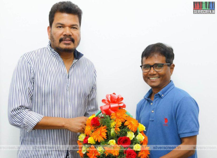 Director Shankar, GV Prakash Kumar, Sasi At The First Look Launch  Of 'Sivappu Manjal Pachai'