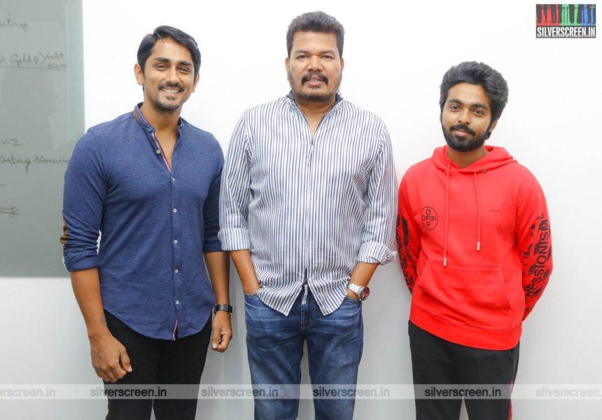 Director Shankar, GV Prakash Kumar, Siddharth At The First Look Launch  Of 'Sivappu Manjal Pachai'
