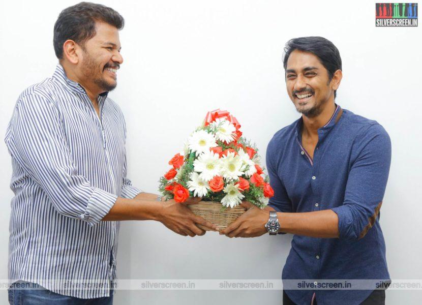 Director Shankar, Siddharth At The First Look Launch  Of 'Sivappu Manjal Pachai'