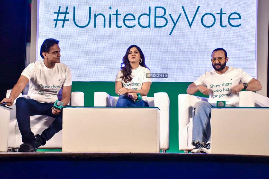 Saif Ali Khan, Bhumi Pednekar At The '#UnitedByVote' Event