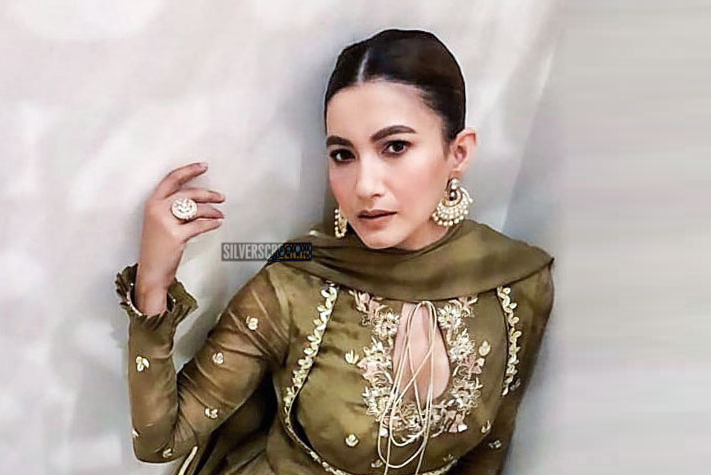 Gauahar Khan In A Kalidar Kurta Suit With Hand Embroidered Floral Patterns And Zardozi Gota