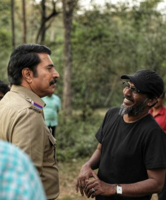 Harshad and Mammootty on the sets of 'Unda'