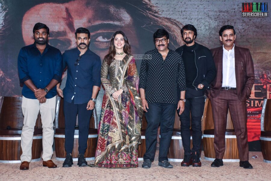 Chiranjeevi, Tamannaah , Vijay Sethupathi, Tamannaah, Ram Charan At The 'Sye Raa Narasimha Reddy' Teaser Launch