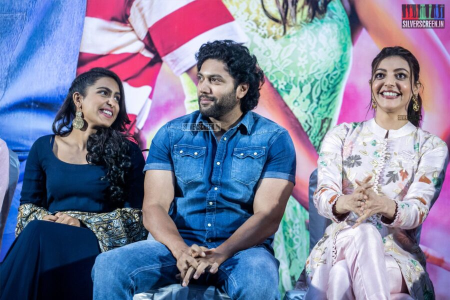 Jayam Ravi, Kajal Aggarwal, Samyuktha Hegde At The 'Comali' Press Meet