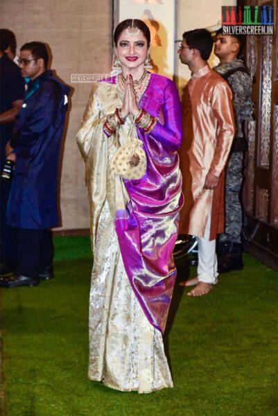 Rekha  At The Ambani's Residence For Ganesh Chaturthi Celebrations