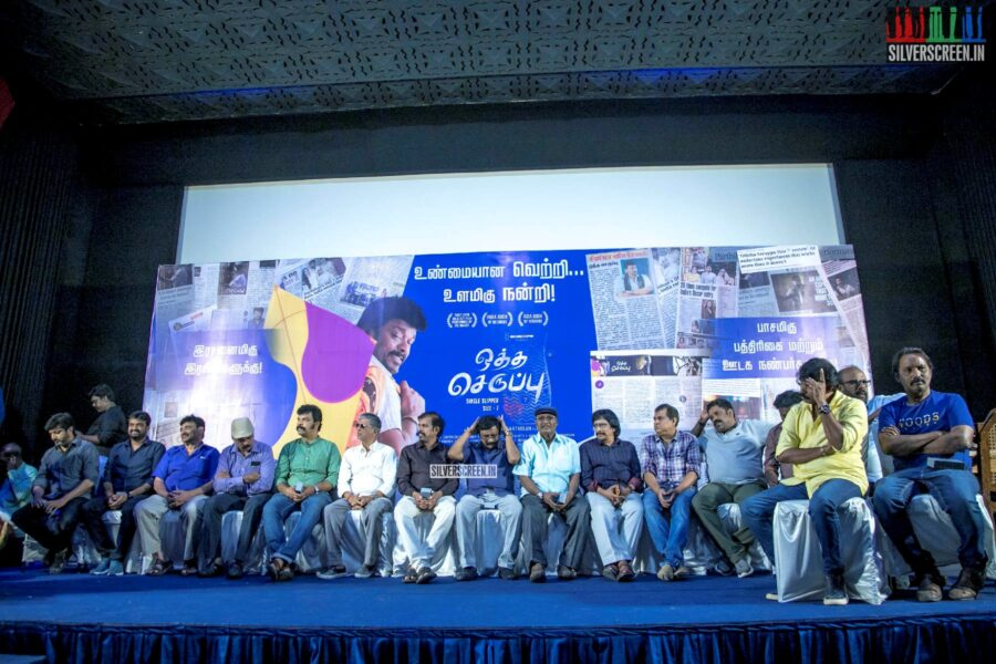 R Parthiban, SA Chandrasekhar, RK Selvamani At The 'Oththa Serupu Size 7' Thanksgiving Meet