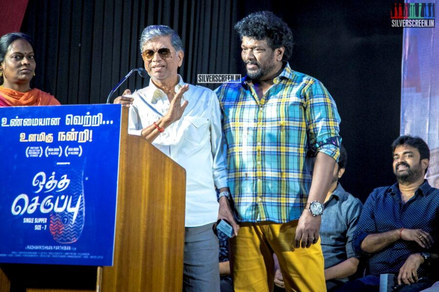 R Parthiban, SA Chandrasekhar, RK Selvamani At The 'Oththa Serupu Size 7' Thanksgiving Meet