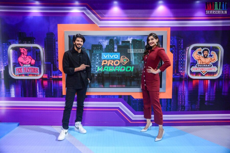 Sonam Kapoor, Dulquer Salmaan On The Sets Of 'Star Sports'