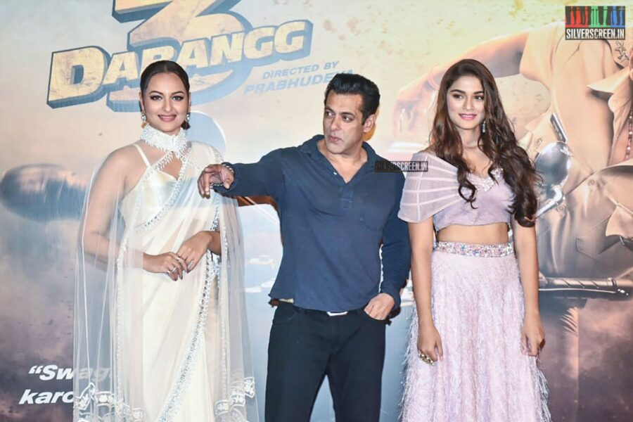Salman Khan, Saiee Manjrekar, Sonakshi Sinha At The 'Dabangg 3' Trailer Launch