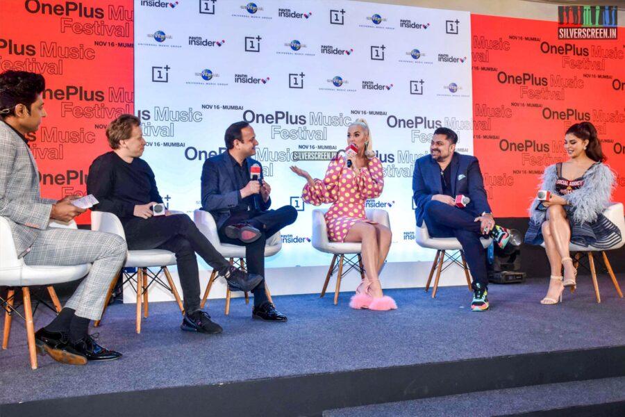 Katy Perry, Jacqueline Fernandez At 'One Plus Music Festival' Press Meet