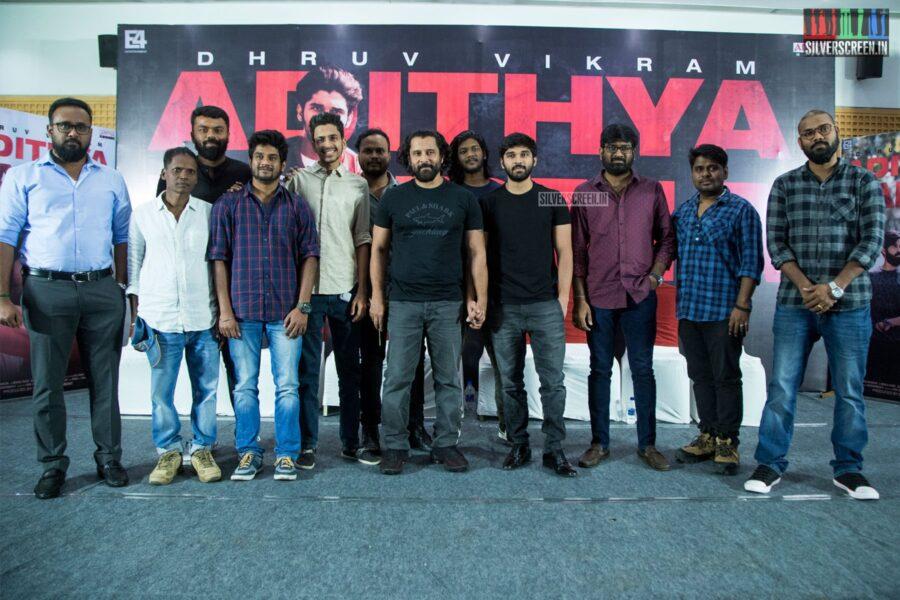 Vikram, Dhruv Vikram At The 'Adithya Varma' Thanksgiving Meet