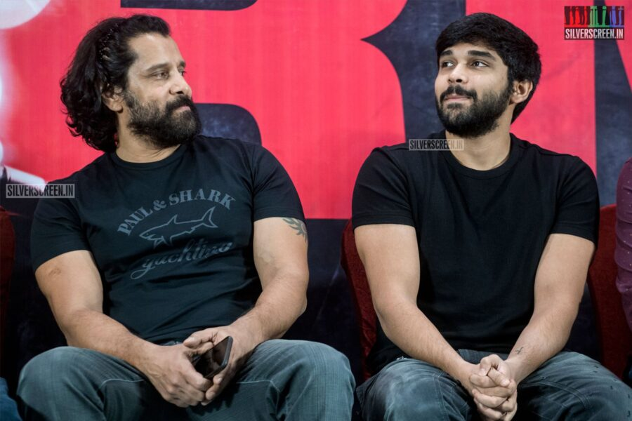 Vikram, Dhruv Vikram At The 'Adithya Varma' Thanksgiving Meet
