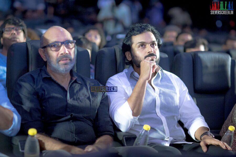 Karthi And Sathyaraj At The 'Thambi' Audio Launch