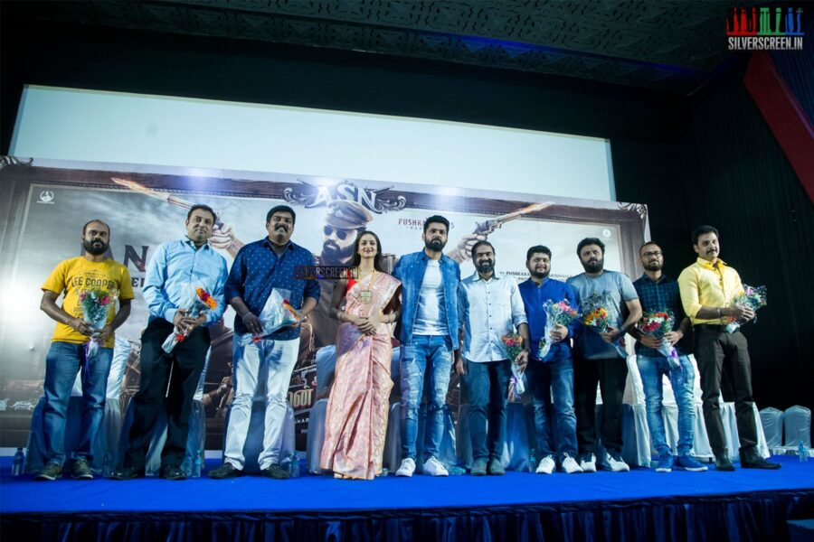 Rakshit Shetty and Shanvi Srivastava At The 'Avane Srimannarayana' Press Meet