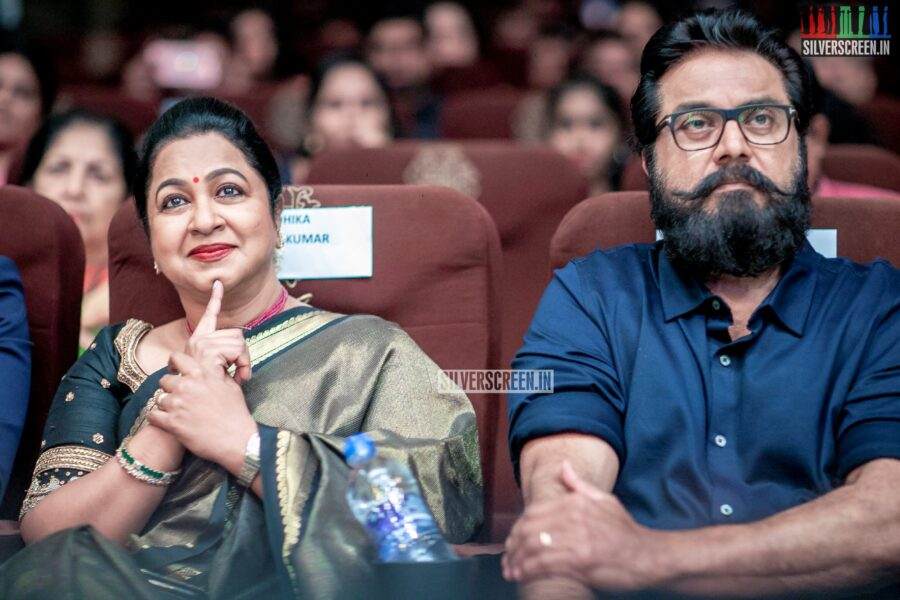 R Sarath Kumar and Radhika At The 'Vaanam Kottatum' Audio Launch