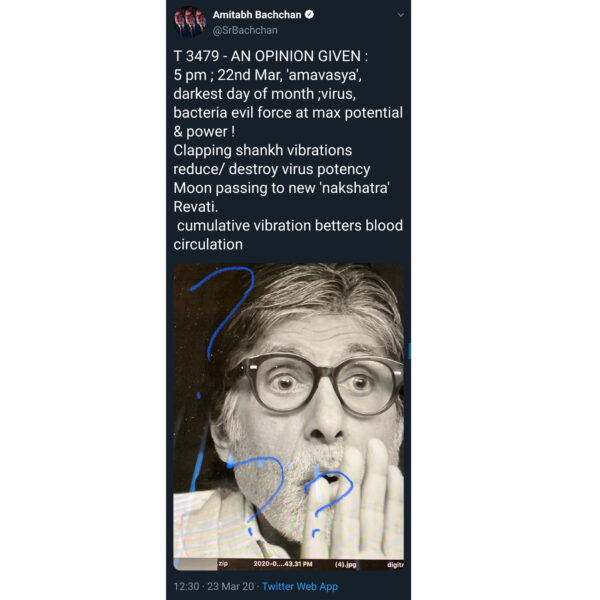 Amitabh Bachchan Whatsapp Forwaded Coronavirus Tweet