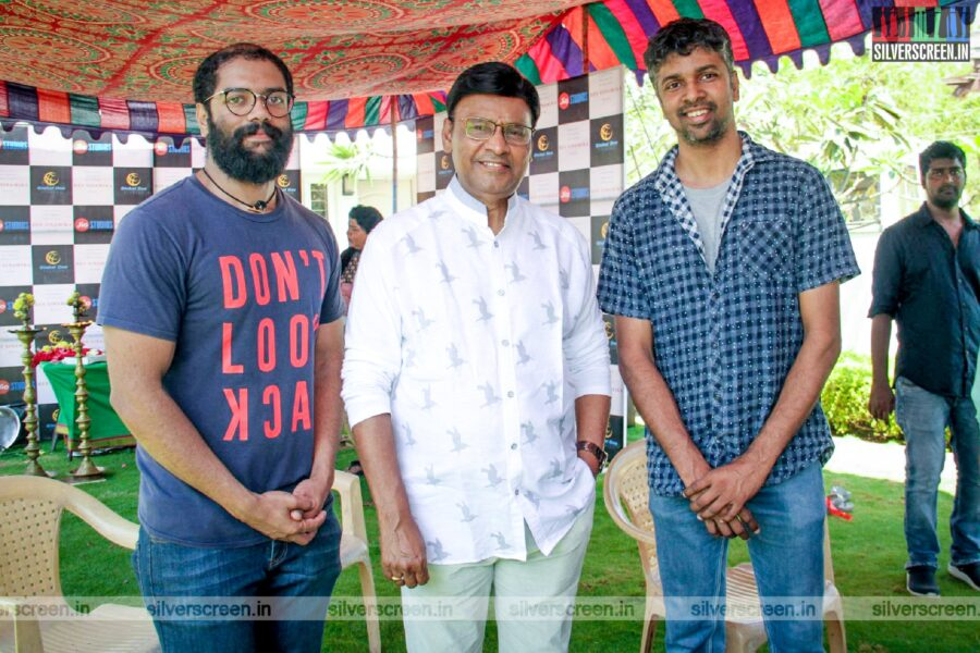 K Bhagyaraj and Madhan Karky At The 'Hey Sinamika' Movie Launch