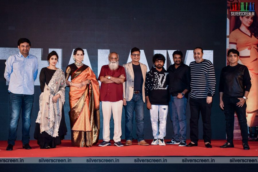 Director Vijay, Kangana Ranaut, GV Prakash Kumar At The Thalaivi Trailer Launch In Mumbai