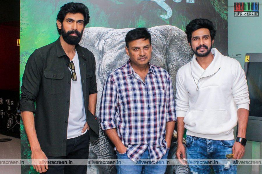 Prabhu Solomon, Vishnu Vishal, Rana Daggubati At The Kaadan Trailer Launch