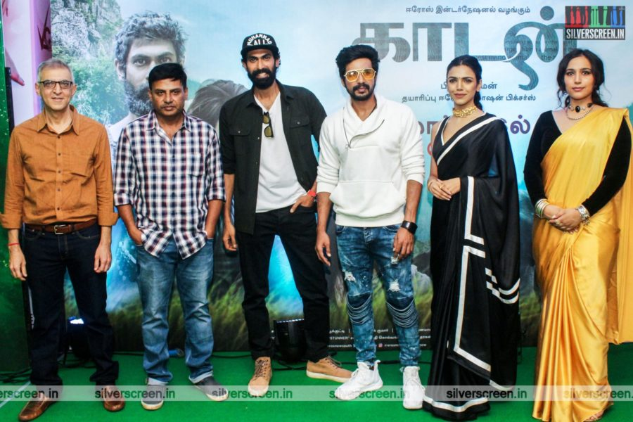 Prabhu Solomon, Vishnu Vishal, Rana Daggubati, Zoya Hussain, Shriya Pilgaonkar At The Kaadan Trailer Launch