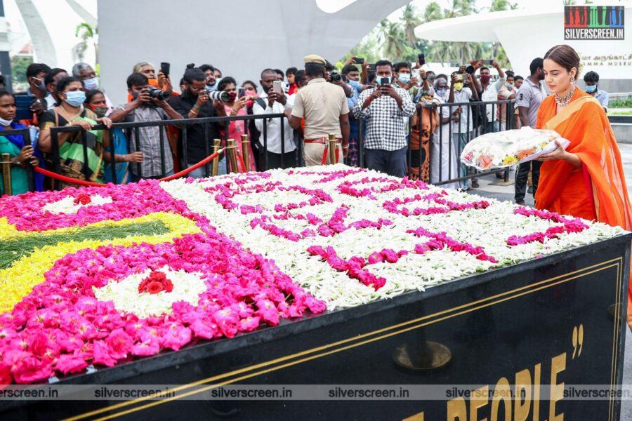 Kangana Ranaut Pays Tribute To Former Chief Ministers Jayalalithaa and Karunanidhi At Memorials