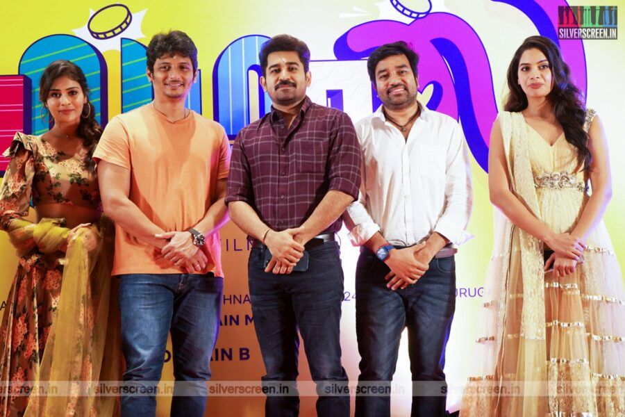 Jiiva, Palak Tiwari, Tanya Hope, Mirchi Shiva, Vijay Antony At The Golamaal Movie Launch