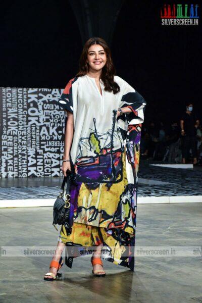 Kajal Aggarwal walks the ramp for Anamika Khanna at the Lakme Fashion Week 2021